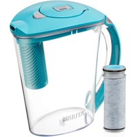 Brita 10 Cup Stream Filter As You Pour Water Pitcher With 1 Filter, Rapids, Bpa Free, Lake Blue