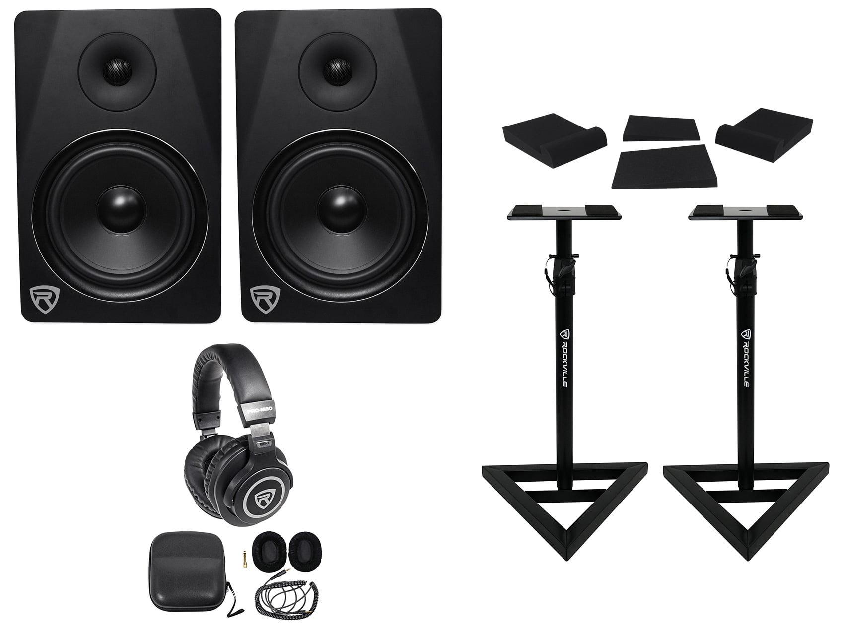 "2) Rockville DPM8B 8"" 600w Dual Powered Studio Monitors+Stands+Pads+Headphones by ROCKVILLE"