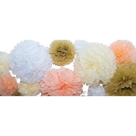 Bridal Shower Paper (35 Pcs Tissue Paper Pom Poms Tassel Kit Paper Flowers Great for Wedding Bridal Shower Birthdays Party Baby Nursery Decor Gold Champagne Peach Ivory White (14