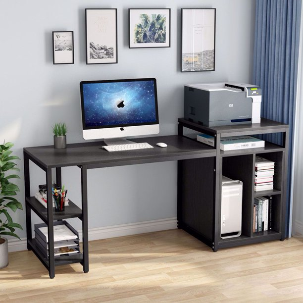 Tribesigns Computer Desk with Storage Shelf, 47 inch Home Office