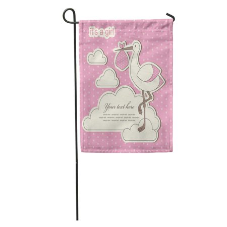 LADDKE Pink Stork Baby Girl Announcement Birth Birthday Label Cute Vintage Garden Flag Decorative Flag House Banner 12x18 inch ()