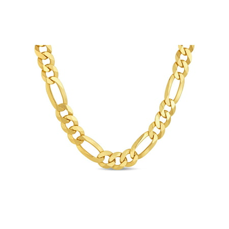 (18k Gold Over Sterling Silver Mens Figaro 250 Gauge Chain Necklace 18 Inches)