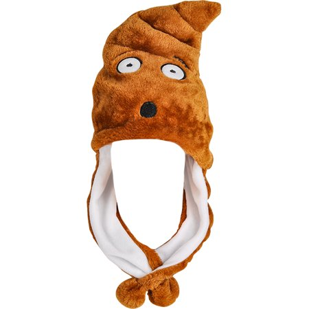 Child's Surprised Poop Emoji Emoticon Pom Pom Hat Costume Accessory (Japanese Emoticons Halloween)