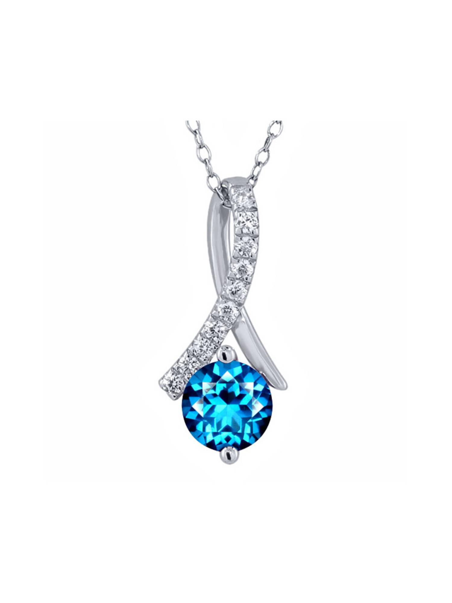 925 Sterling Silver Pendant Set with Round Kashmir Blue Topaz from Swarovski
