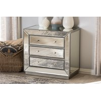 Baxton Studio Edeline Glamour Style Mirrored 3-Drawer Chest