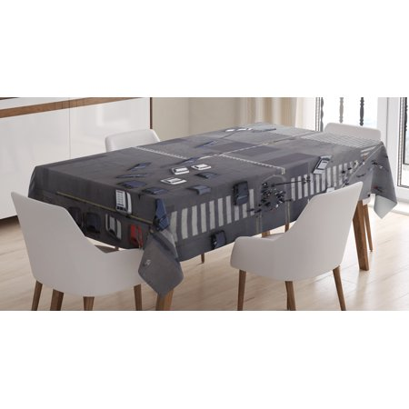 Urban Tablecloth, Road Intersection Paris France Modern City Life Cars in Traffic Crosswalk Street View, Rectangular Table Cover for Dining Room Kitchen, 60 X 84 Inches, Grey White, by Ambesonne