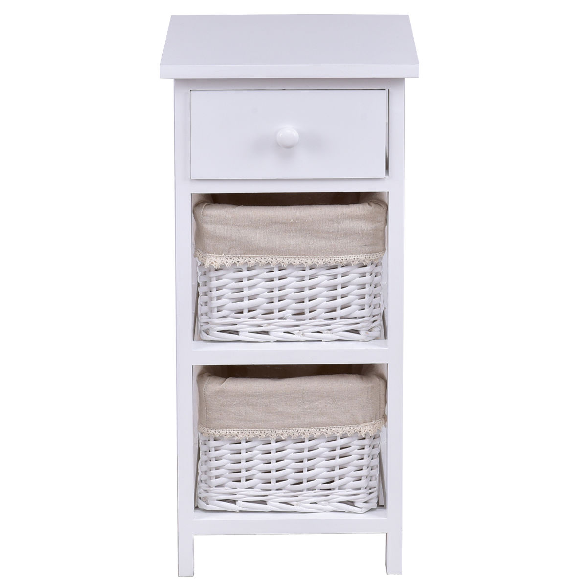 Gymax Wooden Bedside Table Nightstand Chest Cabinet