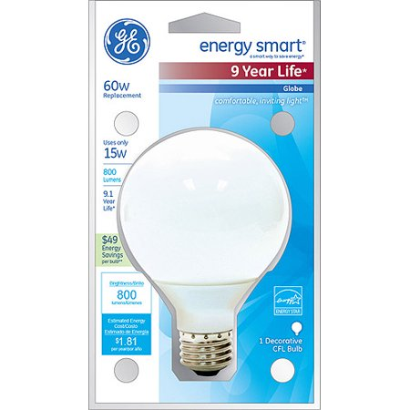 GE Energy Smart CFL Globe Bulb, 3 Bulbs