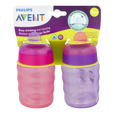 9m+ 9 Oz 2 Pack 2 Ct Pink//Purple SCF553//22 Philips Avent My Easy Sippy Cup