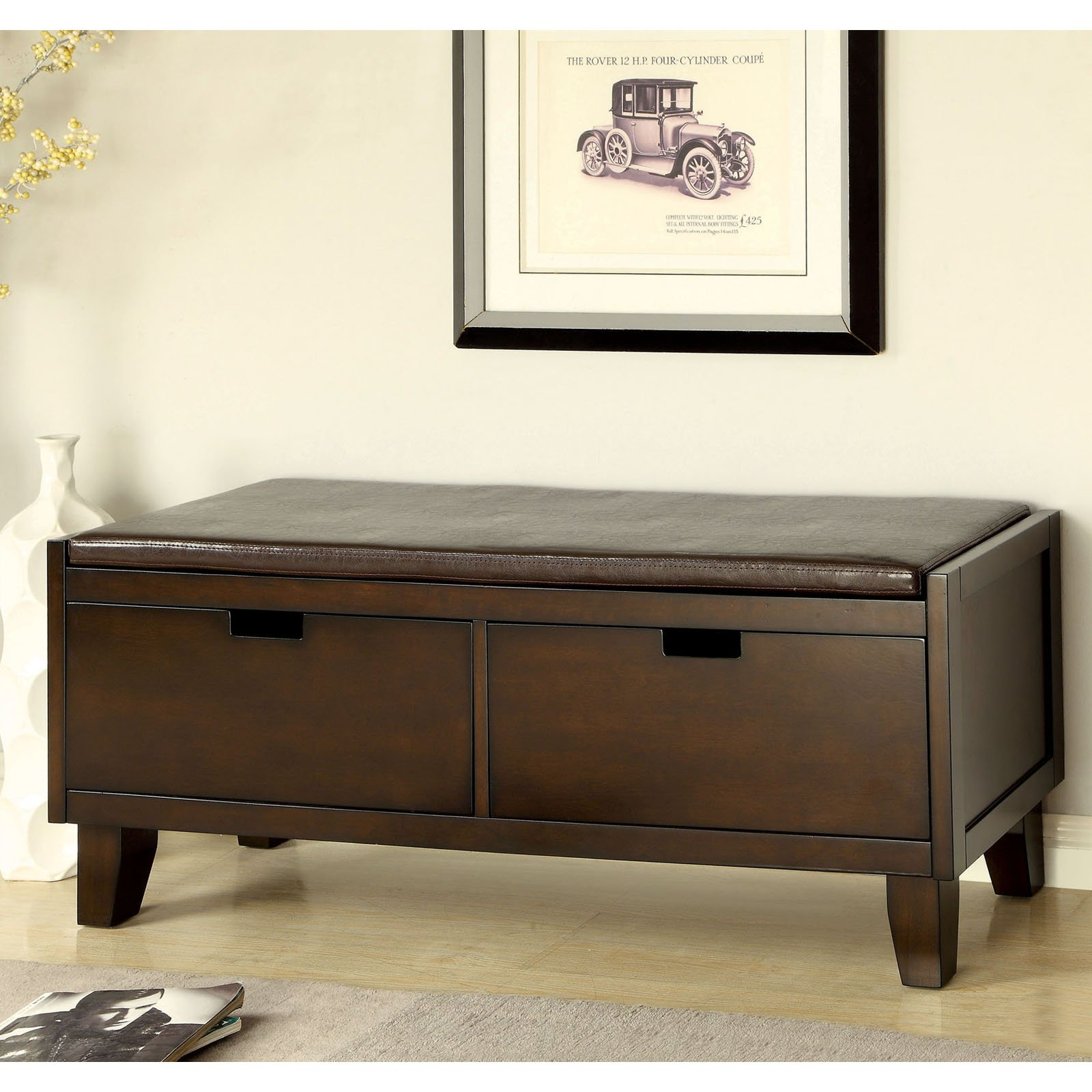 Furniture Of America Revelle Padded Leatherette Storage Bench   Walnut    Walmart.com
