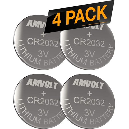 AmVolt CR2032 4 Pack Battery 220mah 3 Volt Lithium Battery Coin Button Cell Expiration Date 2023