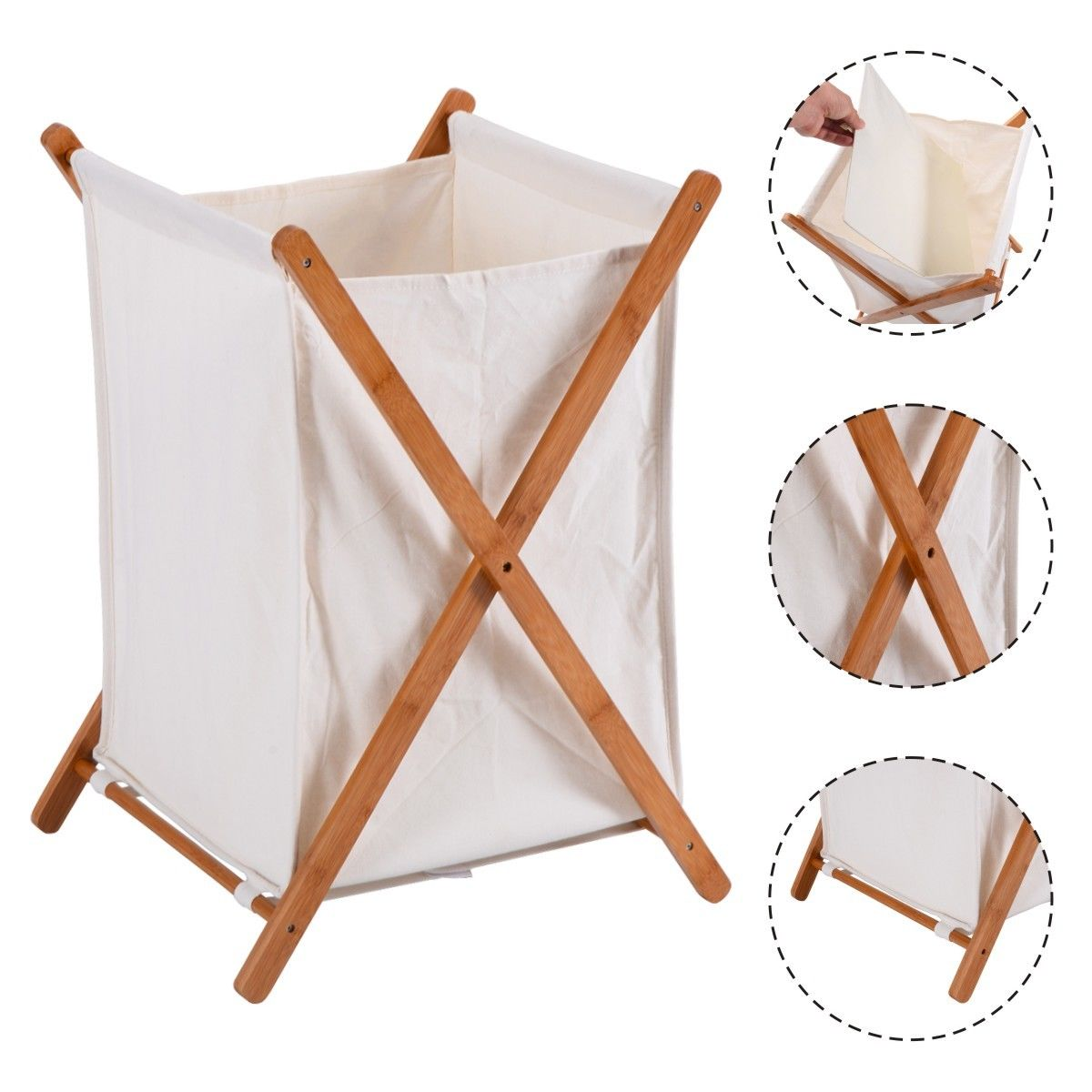 "GHP Home 16""Lx13.5""Wx22.5""H Natural Bamboo Folding Laundry Hamper w 22Lbs Capacity"