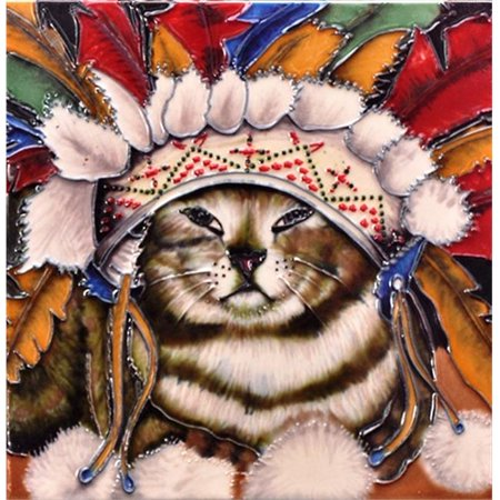 En Vogue B-325 Wake Me When Pilgrims Cat - Decorative Ceramic Art Tile - 8 in. x 8 in.