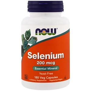 Now Foods, Selenium, 200 mcg, 180 Veggie Caps (Pack of 1)