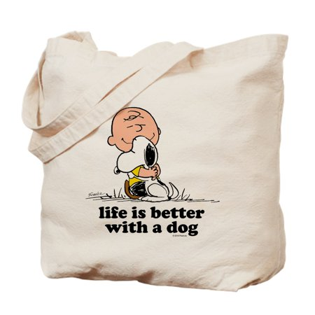 Charlie Brown: Life Is Better With A Dog - Natural Canvas Tote Bag, Cloth Shopping Bag - Cloth Tote Bags