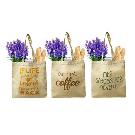 Earthwise Organic Cotton Reusable Grocery Bag Shopping Totes w/3 Cute and Funny Prints (3 Pack) - Cute Reusable Shopping Bags
