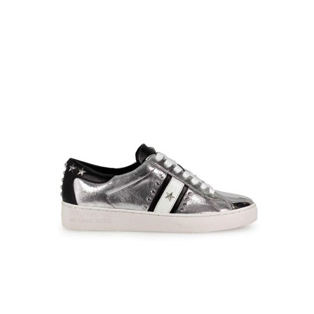 Michael Michael Kors Womens Frankie Leather Low Top Lace Up, Silver, Size 6.0 (Michael Kors Frankie)