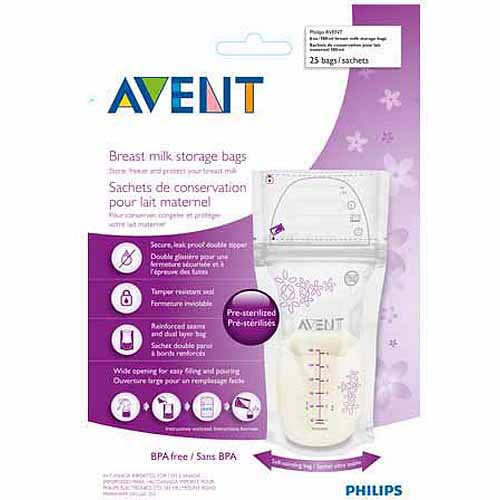 Philips Avent 6-Ounce Breast Milk Storage Bags, 25-Count, BPA-Free