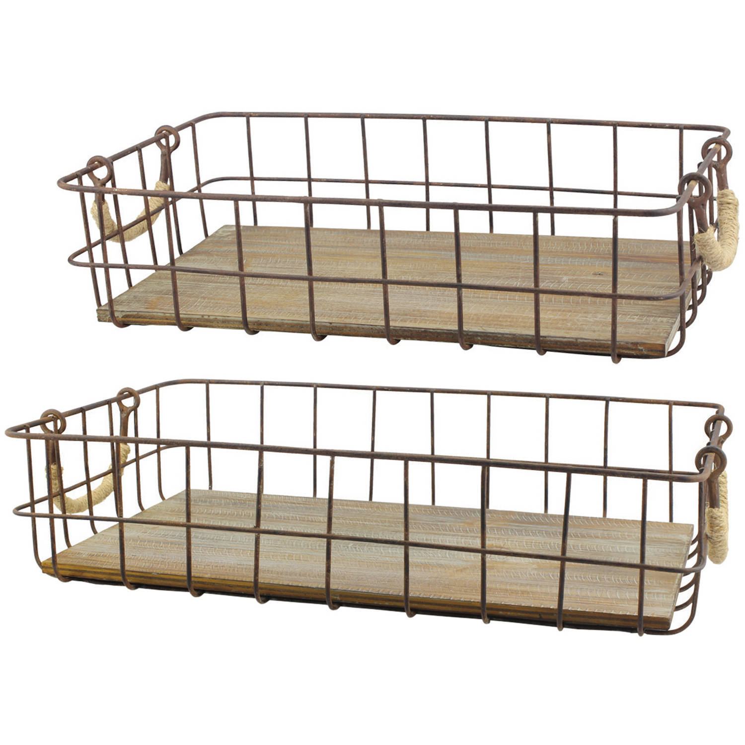 Set of 2 Wire And Wood Baskets