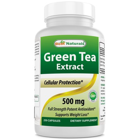 Green Tea Extract 500 mg 250 Capsules by Best Naturals - powerful free radical scavenger - Fat burning formula can