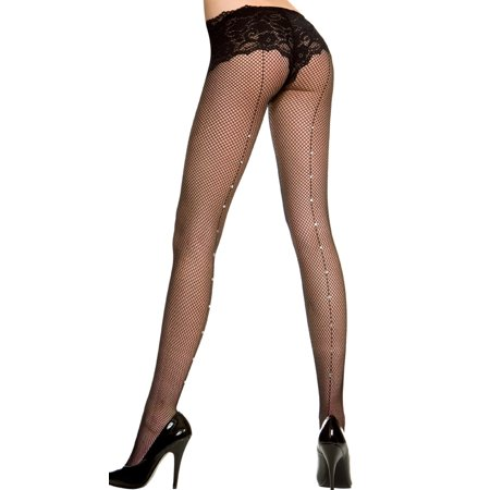 Fishnet Pantyhose With Rhinestone Backseam, Fishnet Stockings With Rhinestone - Fishnets Stockings