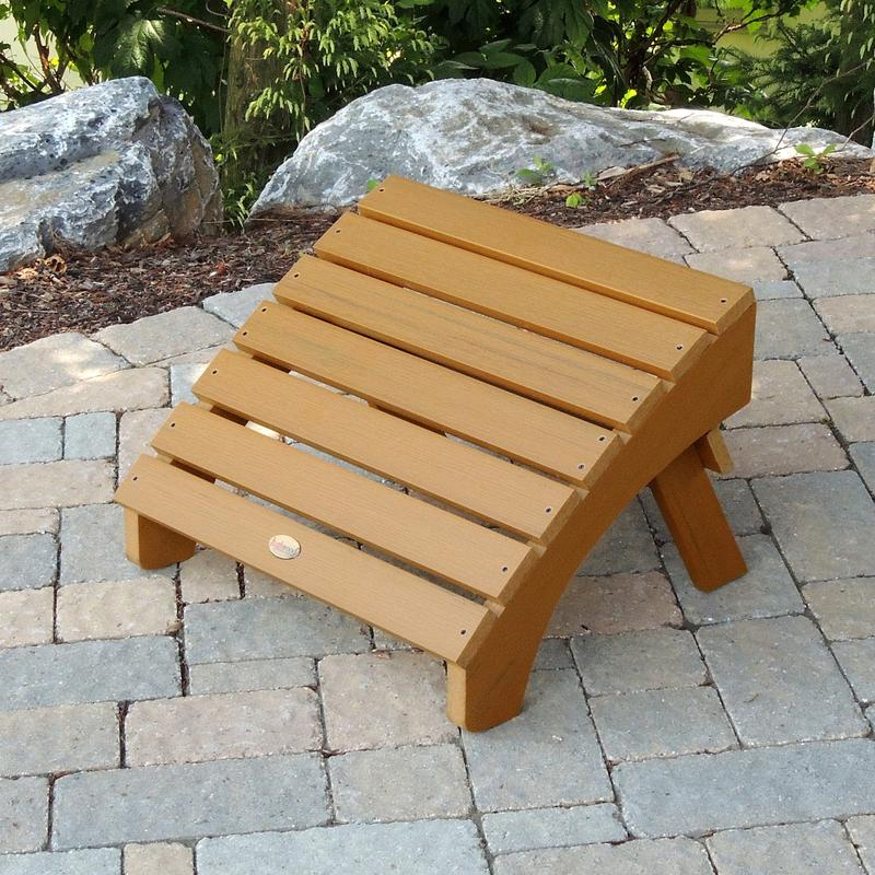 AD-OTL1-TFE Recycled Plastic Toffee Adirondack Outdoor Hamilton Furniture Folding Ottoman-Made in USA