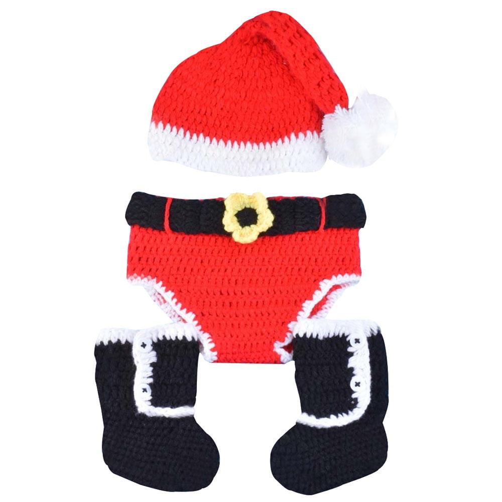 Newborn Girls Boys Crochet Knit Costume Photography Prop Outfits Christmas