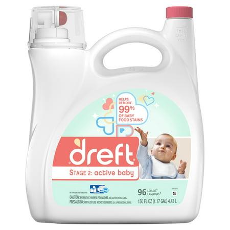 Dreft Stage 2: Active Baby Liquid Laundry Detergent, 96 Loads 150 fl (Best Baby Detergent India)