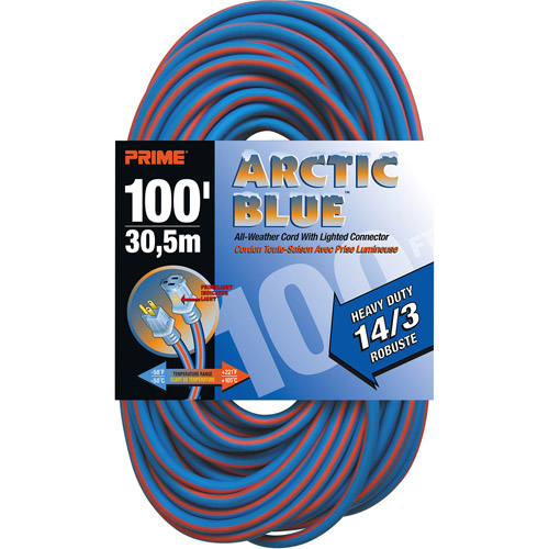 Prime Heavy Duty 100-Foot Arctic Blue All-Weather TPE Extension Cord