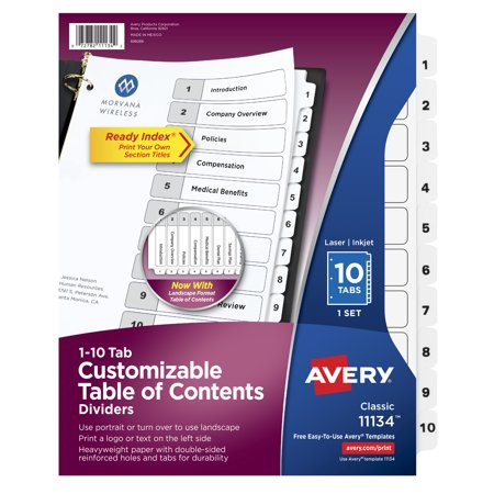 Avery Customizable Table of Contents Dividers, Ready Index, Preprinted 1-10 White Tabs, 1 Set