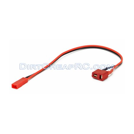 Deans Ultra (T-Plug) Female to JST Male: Battery Charger Charging Adapter (Leads Cables Wires Plugs Connectors) (Receiver Rx Pack)