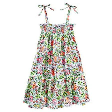 OshKosh B'gosh Big Girls' Smocked Tiered Dress (8, Multi)