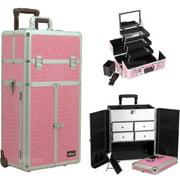 Sunrise I3565CRPK Pink Croc Trolley Makeup Case - I3565