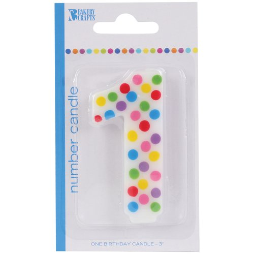 Bakery Crafts Polka Dot Birthday Candle, Number 1