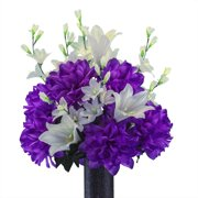 Sympathy Silks Artificial Cemetery Flowers - Realistic - Outdoor Grave Decorations - Non-Bleed Colors, and Easy Fit - White Lily and Purple Dahlia Bouquet