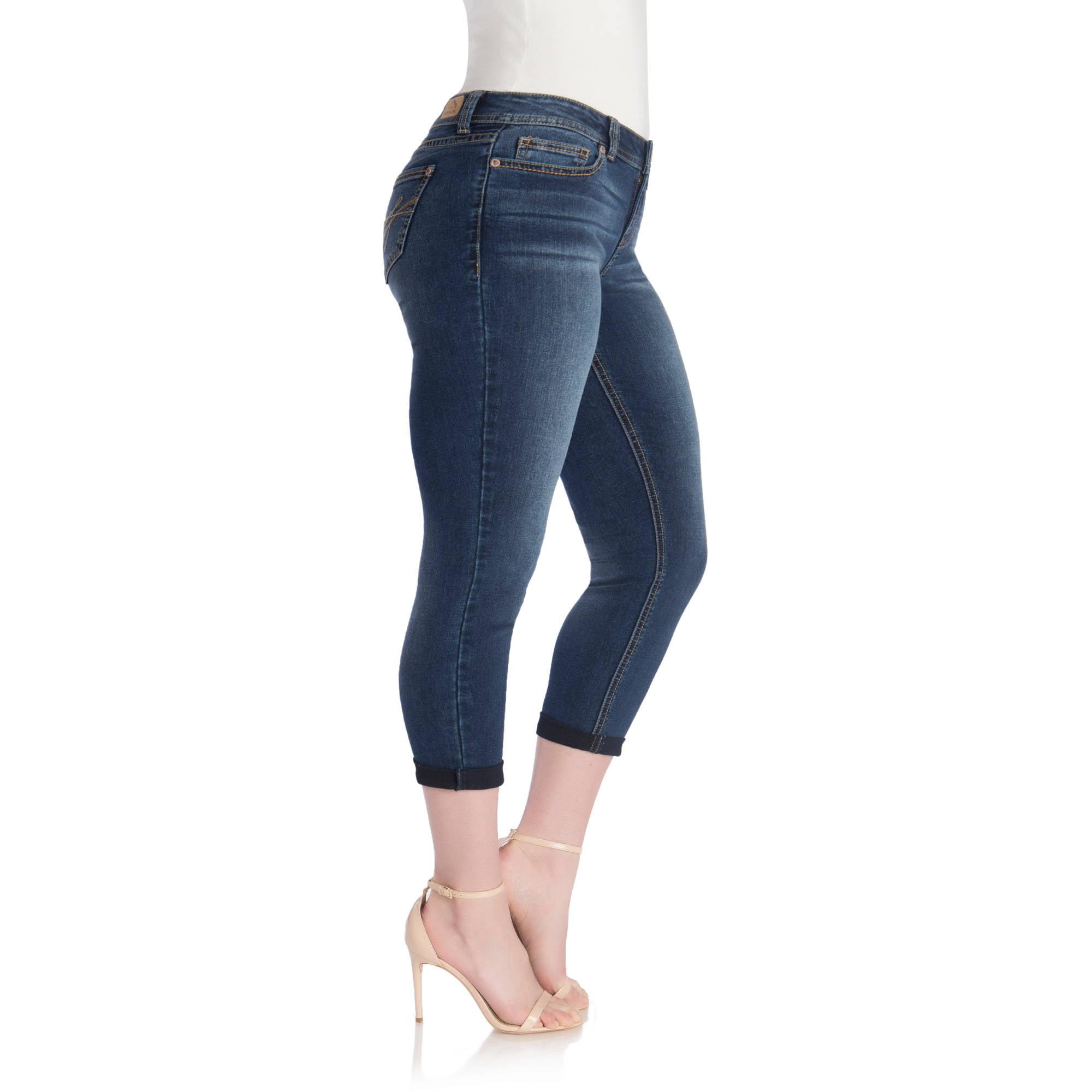 Jordache Women's Plus Rolled Hem Jeans