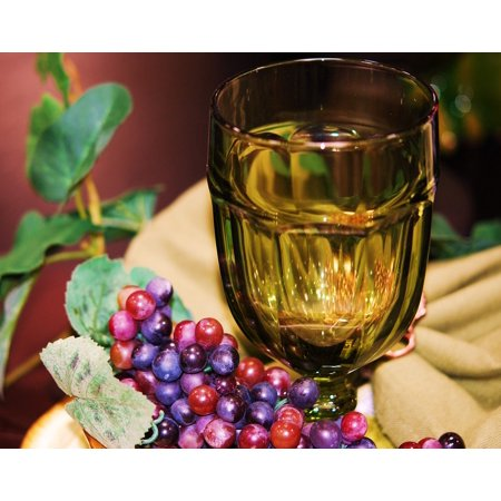 Chalice Center - LAMINATED POSTER Glass Goblet Silk Floral Table Scape Fake Grapes Poster Print 24 x 36