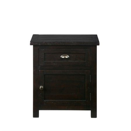 Jofran prospect creek nightstand in dark wood for Black wood nightstand