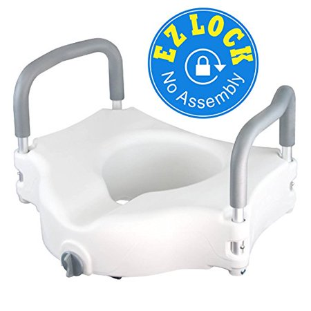 Raised Toilet Seat + Best Portable Elevated Riser with Padded Handles - Toilet Seat Lifter for Bathroom Safety