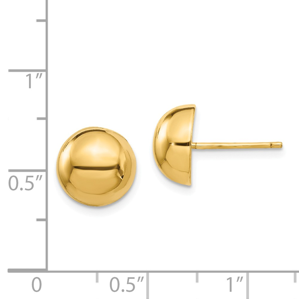 8 to 25mm Button Half Ball Post Stud Earrings Genuine 14k Yellow Gold