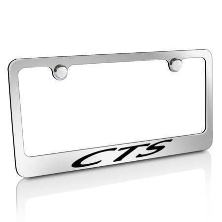 Script License Plate Frame (Cadillac CTS Script Chrome Metal License Plate)