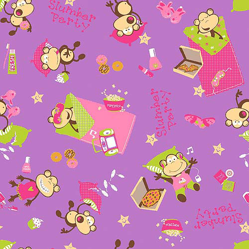 Springs Creative Flannel Slumber Party Monkeys Fabric By The Yard