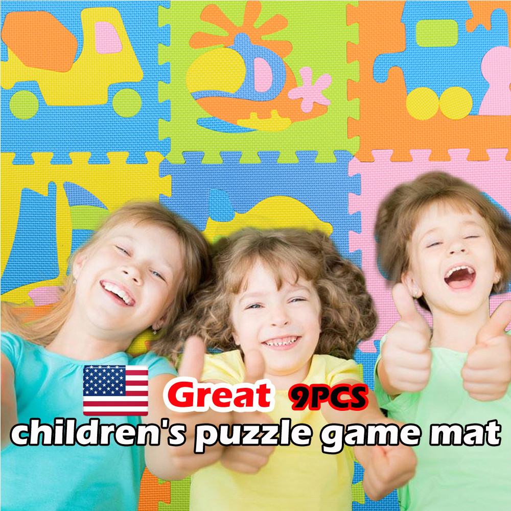 iLH Mallroom 9Pcs Baby Children Transport Puzzle EVA Foam Puzzle Game Mat Toy Gift by