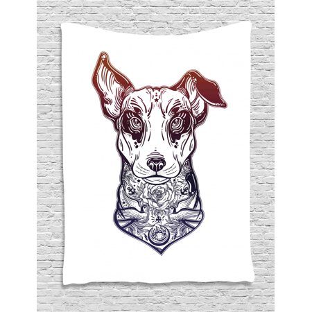 Dog Tapestry, Digitally Generated Vintage Style Bull Terrier with Tattoo Art Rose Birds, Wall Hanging for Bedroom Living Room Dorm Decor, Indigo Redwood and White, by Ambesonne Bull Terrier Tapestry