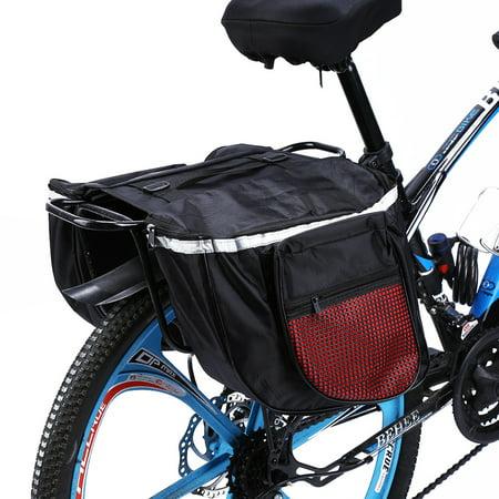 Yosoo Double Bike Panniers Water-Resistant Cycling Bicycle Bike Pannier Rear Seat Bag Rack Trunk Rack Back Rear Seat Tail Carrier Trunk Double Bicycle Seat Bag