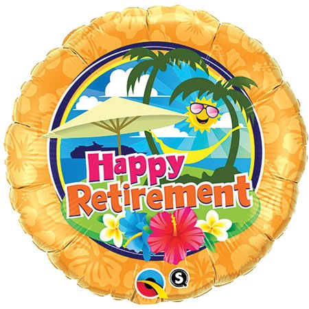 Qualatex Happy Retirement Sunny Tropical Paradise 18