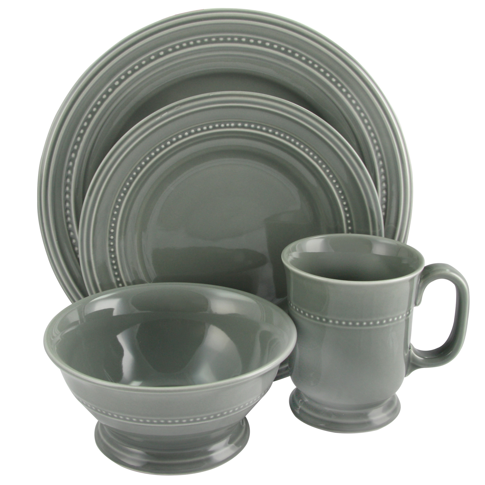 Gibson Barberware 16 Piece Dinnerware Set in Grey  sc 1 st  Walmart & Gray Dinnerware Sets - Walmart.com