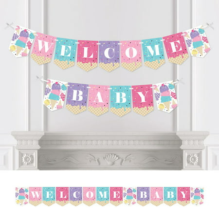 Baby Sprinkle Decorations (Scoop Up The Fun - Ice Cream - Sprinkles Baby Shower Bunting Banner - Party Decorations - Welcome)