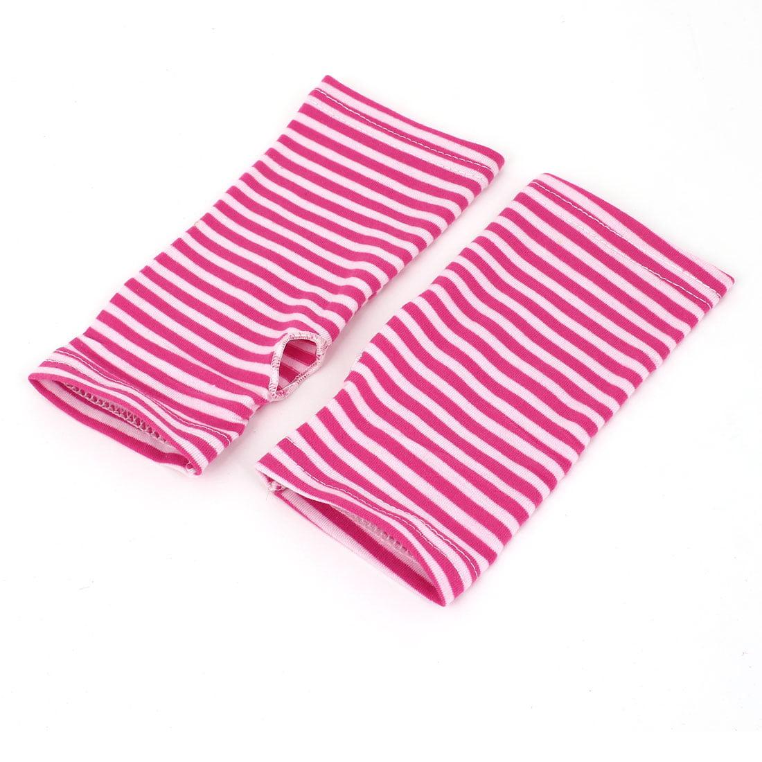 Women Stripe Pattern Fingerless Design Fall Wear Arm Warmers Gloves Pair Pink