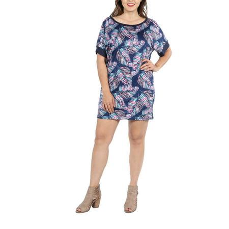 - 24Seven Comfort Apparel Taylor Blue Feather Print Plus Size Mini Dress